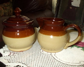 Ceramic Pottery Sugar and Creamer Brown Tan Tones Vintage Country Rustic Stoneware