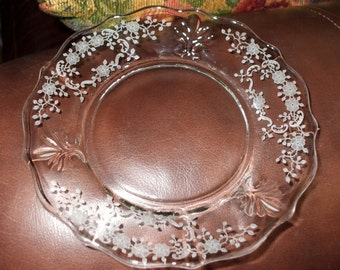 Fostoria Etched Plate Clear Glass Or Crystal Scalloped Ornate Floral Vintage