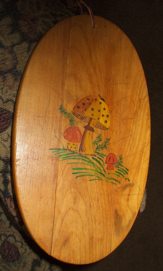 Cutting Board Wood Oval Vintage Antique Hand Painted Mushrooms Shabby Rustic