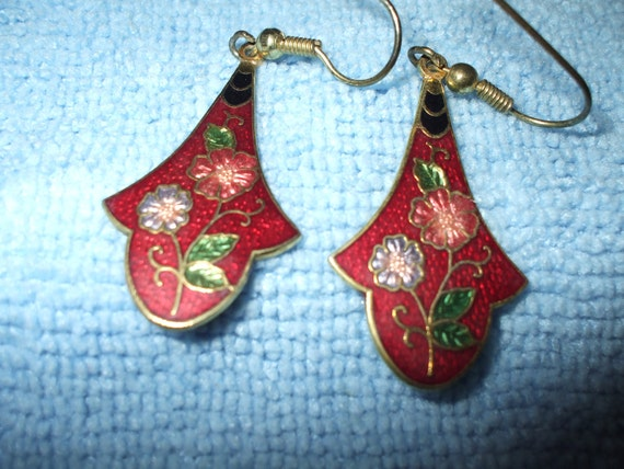 Earrings Cloisonne Vintage Dangle Drop Dark Red Gold Tone Floral