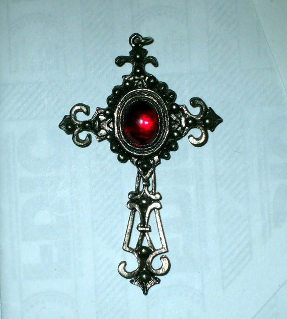 Cross Pendant Large  Victorian Style Gothic Filigree Vintage 1980's Silver Tone Red Cabochon Maybe 1928 Jewelry Co. SALE