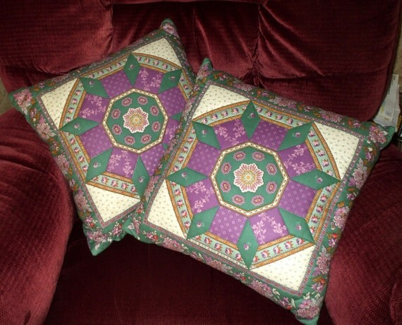 Quilted Pillow Covers Ornate Victorian Design Vintage Medallion Floral Green Purple Lavender Decorative