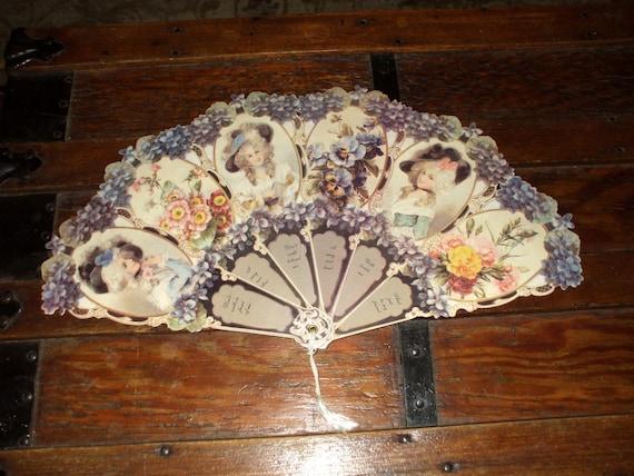 Large Victorian Fan Embossed Die Cut Ornate Ladies Florals Vintage