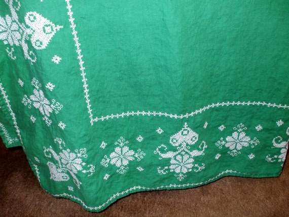Large Tablecloth Cross Stitch Embroidery Heart Floral Victorian Design Vintage 1970's SALE