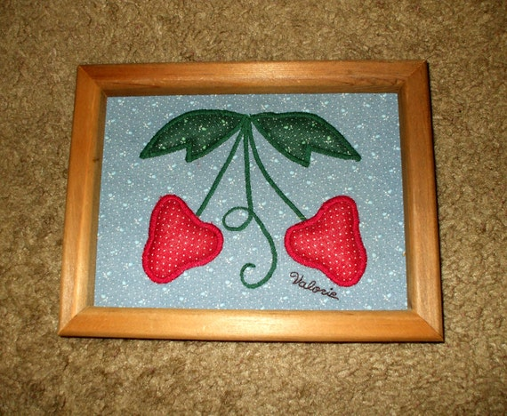 Folk Art Applique Art in Wood Frame Handmade Hand Crafted 1985 Vintage Quilted Strawberries Rustic Country