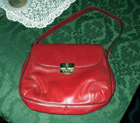 Etienne Aigner Handbag Shoulder Bag Leather Vintage 1980's Oxblood Red Brown Rust