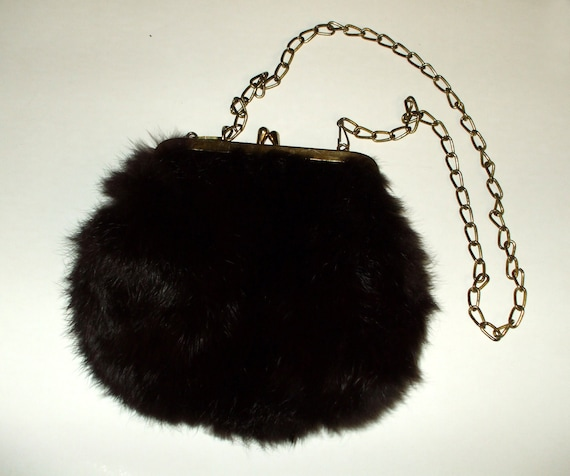 Genuine Fur Handbag Purse with Chain Dark Brown Vintage 1960's SALE