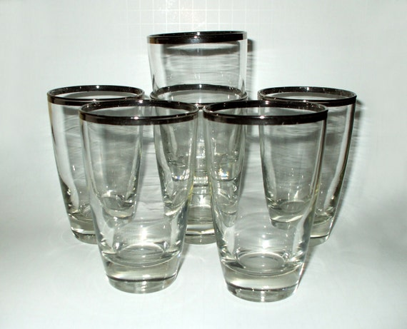 Vintage Silver Chrome Rimmed Glasses Thick Bottoms Set of FIVE Retro Mad Men Style