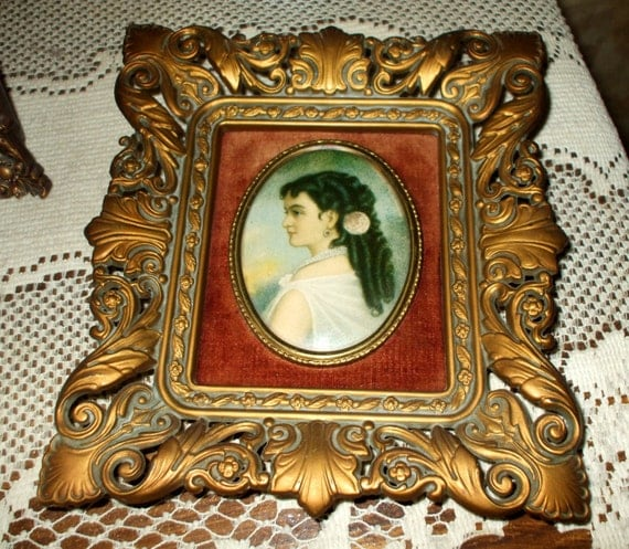Cameo Creation Portrait with Ornate Victorian Frame Oval Lady Print Vintage