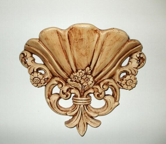 Ornate Wall Pocket Planter Holder Shabby Victorian Plaster Fleur De Lis Vintage