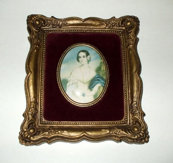 Cameo Creation Romney Lady Portrait Victorian Ornate Antique Gold Frame Plaque Vintage