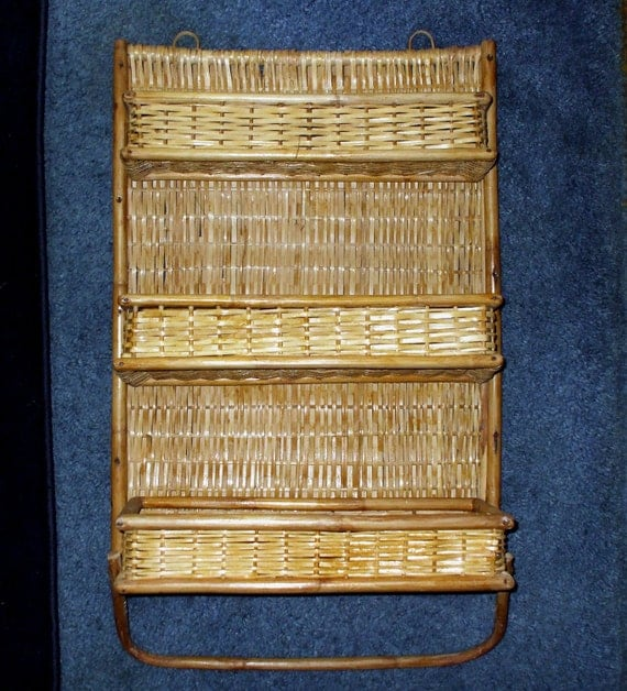 Wicker Bamboo Wall Shelf Rattan Three Folding Shelves Hanging Towel Rack Vintage