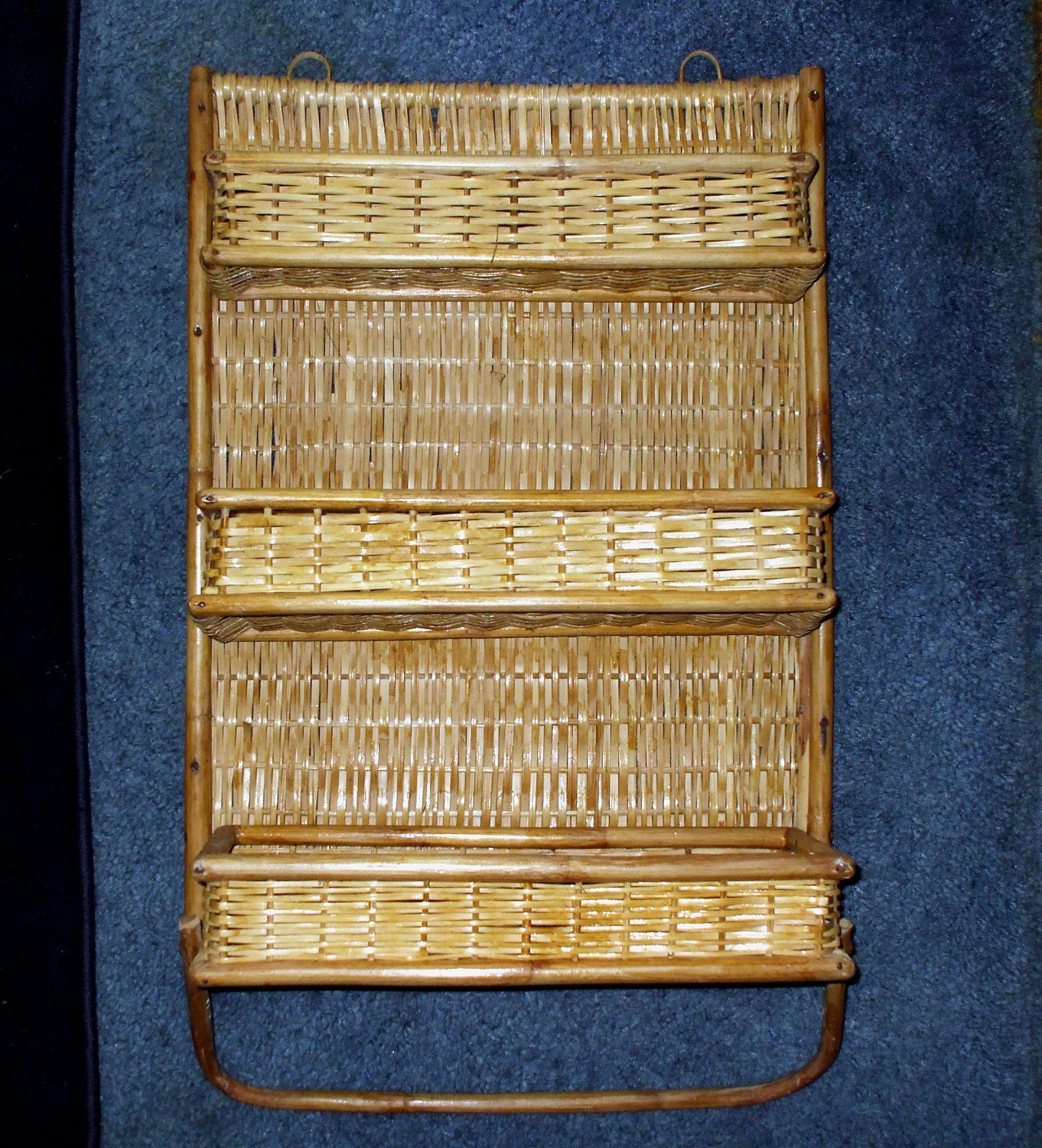 Wicker Bamboo Wall Shelf Rattan Three Folding Shelves Hanging