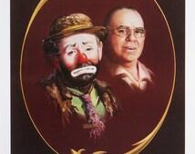 Emmett Kelly, circus clown artist-proof print 24x18 by artist RUSTY RUST / EKS-w&wo-P