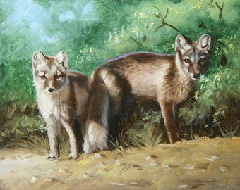 Arctic Fox wildlife 20x24 oil on canvas painting by RUSTY RUST / F-39