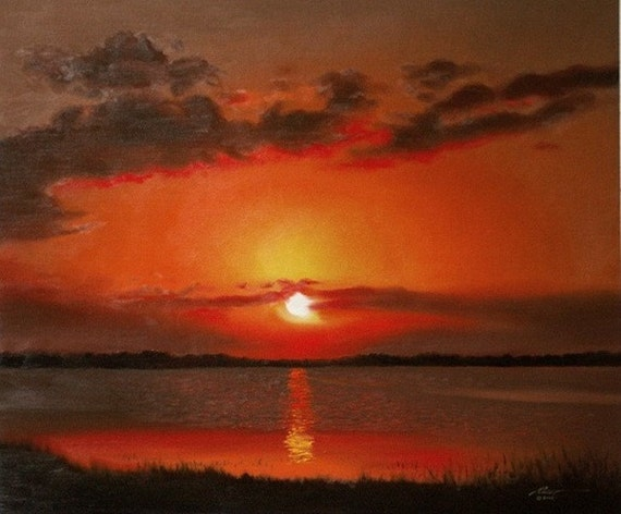 Sunset landscape painting 20x24 oils on canvas by RUSTY RUST / L-99