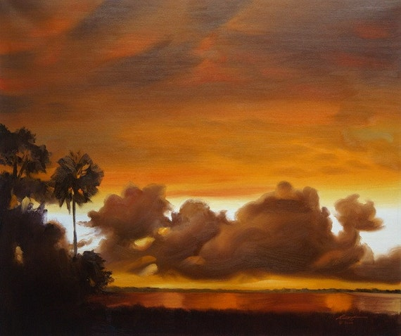 Sunset landscape painting 20x24 oils on canvas by RUSTY RUST / L-129