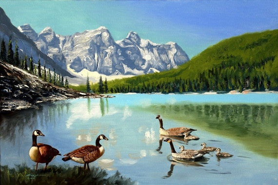Canada Geese wildlife bird landscape 24x36 oils on canvas painting by RUSTY RUST / G-42