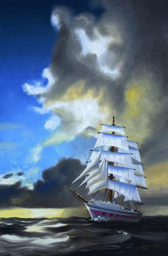 Sailboat sail boat ship marine 36x24 oils on canvas painting by RUSTY RUST / M-211