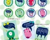 Monster ball cupcake toppers/ party circles/ decor circles