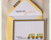 School bus/ teacher NOTE CARDS Printable file