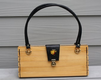 Handcrafted Wood and Leather Purse - Natural Wood And Black Leather