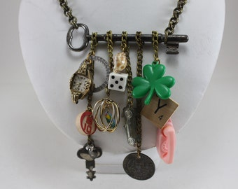 Handcrafted Charm Necklace Vintage Charms Skeleton Key - Key To My Childhood