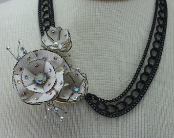 Vintage Paper Mache' Flower Assemblage Necklace Handcrafted OOAK