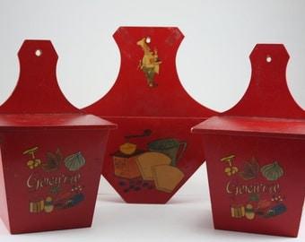 Vintage Red Wooden Kitchen Boxes Set