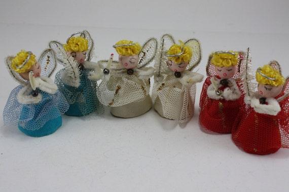 Vintage Angel Ornaments Set of 6 Japan
