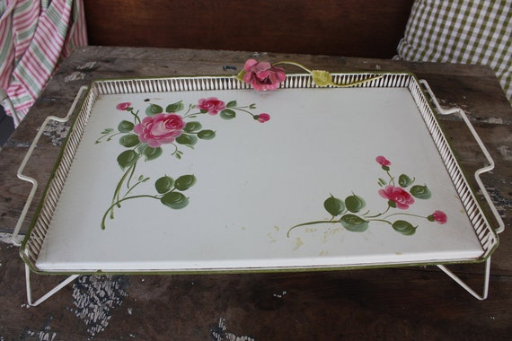 Vintage Tray Table Metal Shabby Chic Floral Tole