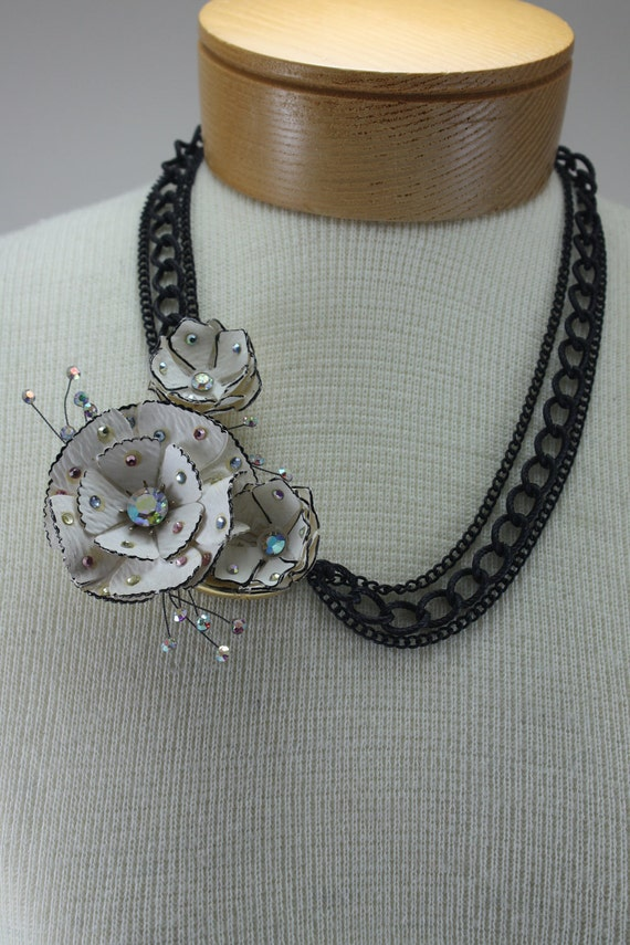 Vintage Paper Mache' Flower Assemblage Necklace Handcrafted OOAK
