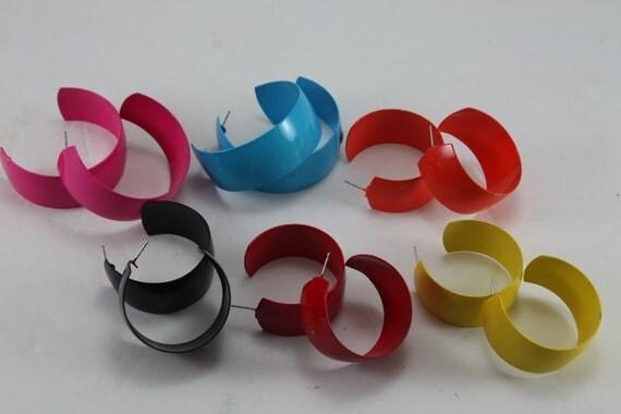 Vintage 80s Earrings Colorful Large Painted Metal Hoops Destash 6 Pairs