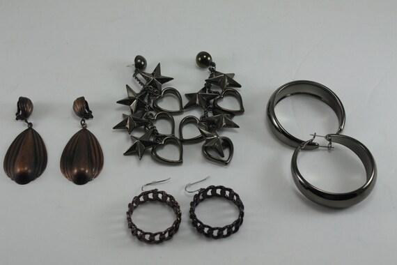 Vintage 80s Earrings Bronze Copper Destash 4 Pairs
