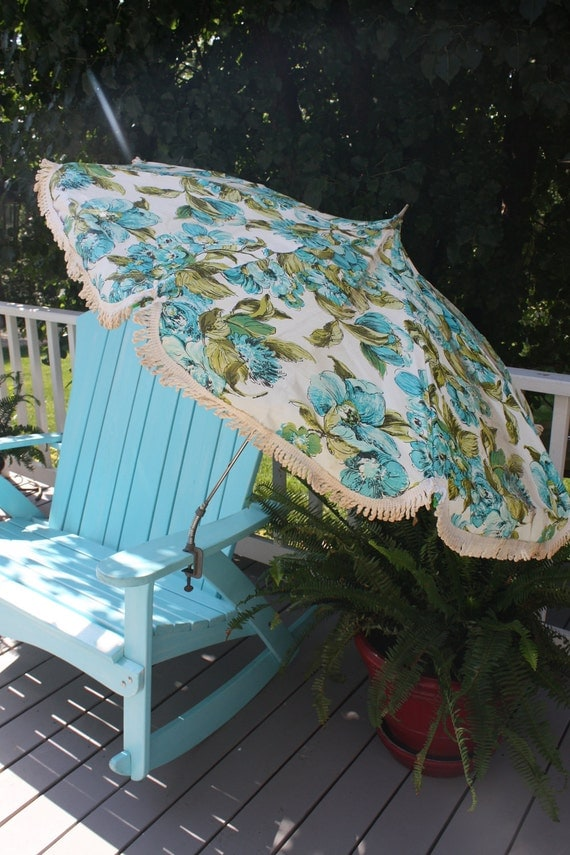 Vintage Mid Century Modern Patio Umbrella Portable For Table