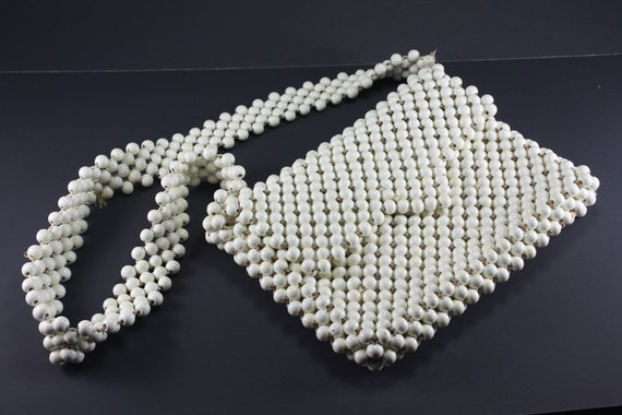 Vintage 60s White Wooden Beaded Purse