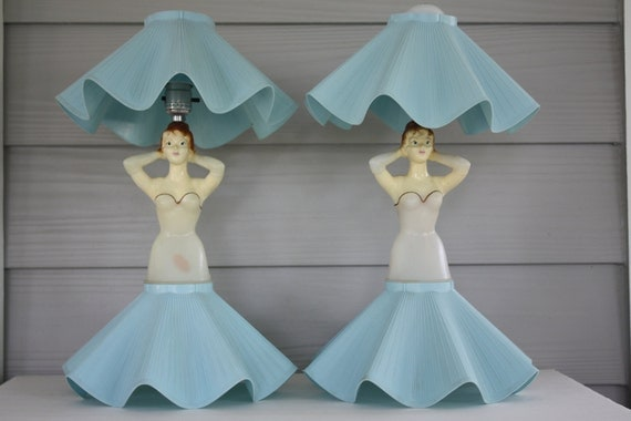 Reserved For Nan - Vintage Lady Doll Lamps Set Of 2