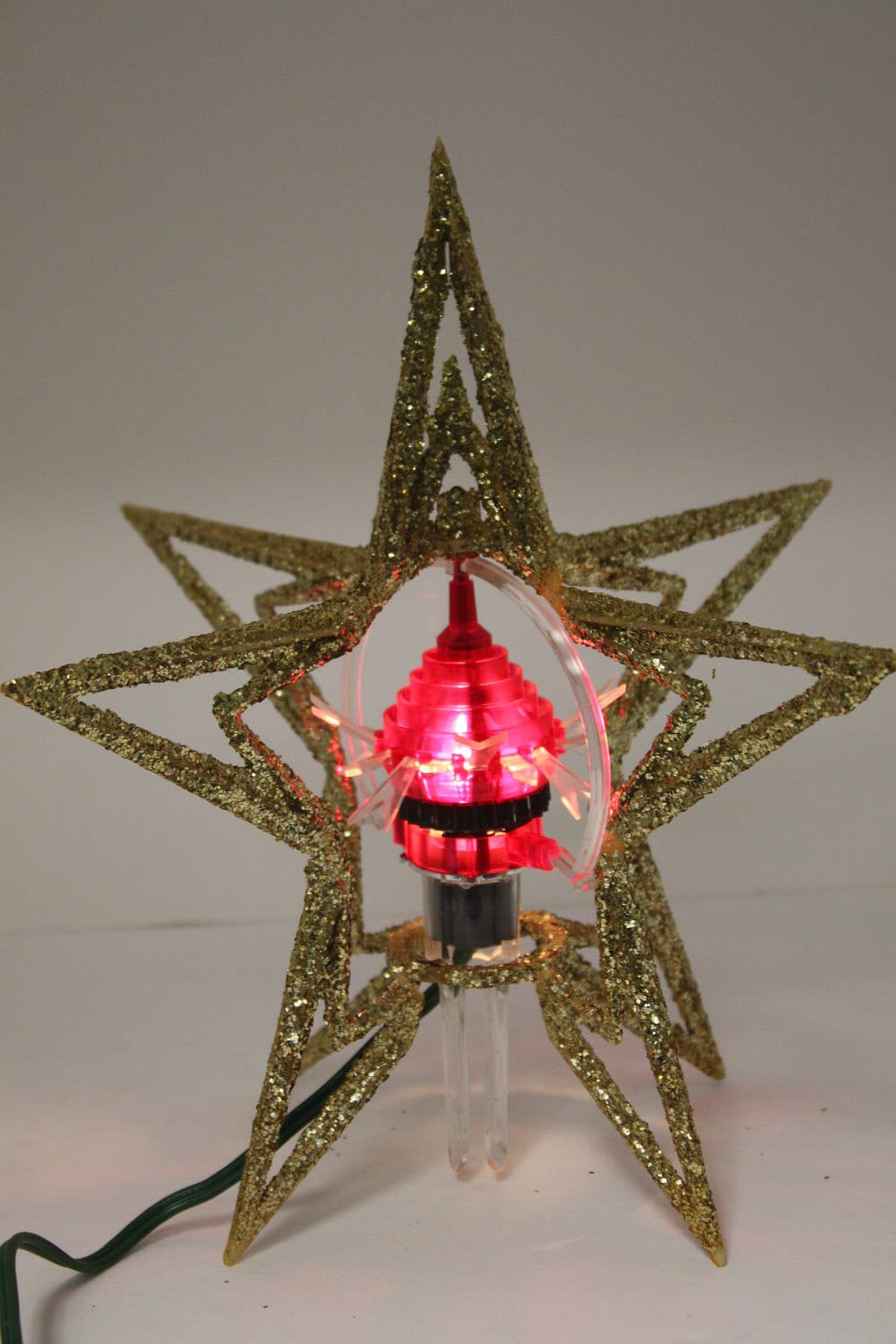 Vintage Merry Glow Rotating Spinning Christmas Tree Topper
