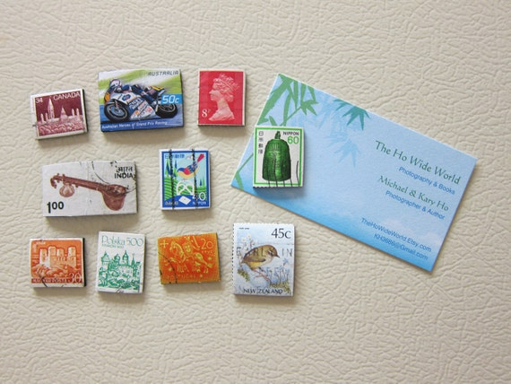 10 Recycled postage stamp magnets, India Portugal Poland Hungary England Australia Canada Japan New Zealand.  Item#SM12