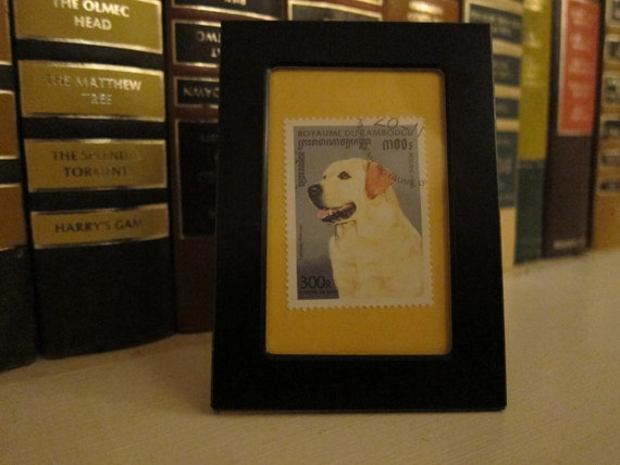 Yellow lab dog- Recycled postage stamp Framed Art or Key Chain