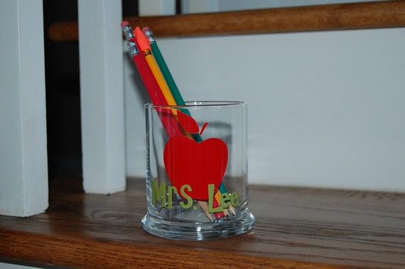 GREAT teacher gift personalized pencil holder candle holder votive glass vinyl