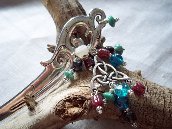 Colorful Celtic Dragon Hairpin- Handcrafted Glass
