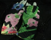 Fingerless Gloves Floral Print Womens Size Medium