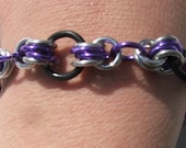 Purple and Black  Bracelet Handmade Chain Maille