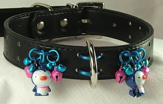 Black Leather Collar with Penguin Bell Charms