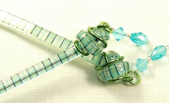 Hair Stick Blue Crystals and Plaid. Fun Long Hair Accessory. Decorated Hair Sticks.