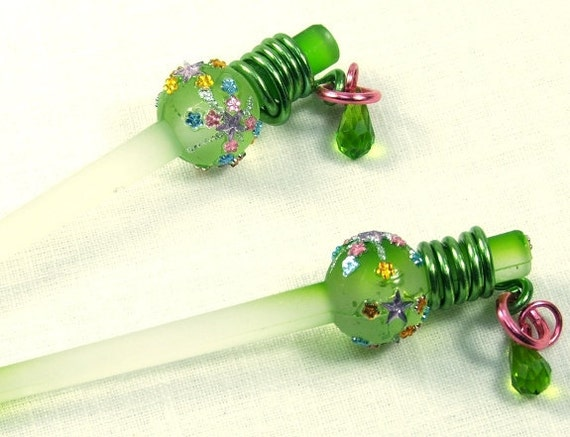 Hair Sticks Green Crystals and Rhinestones. Long Hair Accessory. Fancy Hair Sticks.