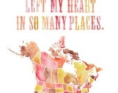 8.5x11 - Left My Heart Print with USA and Canada