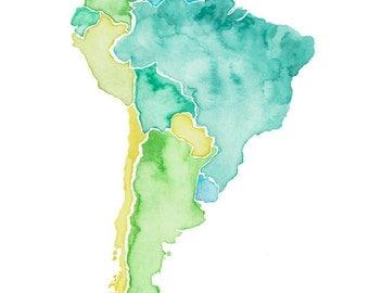 5x7, 8x10, 8.5x11 or 11x14 - South America Print