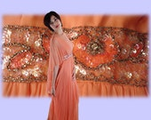"Vintage Peach Bead Sequin Layered Chiffon Dance Dress Wedding 1960s Sz Medium 172"" Sweep"